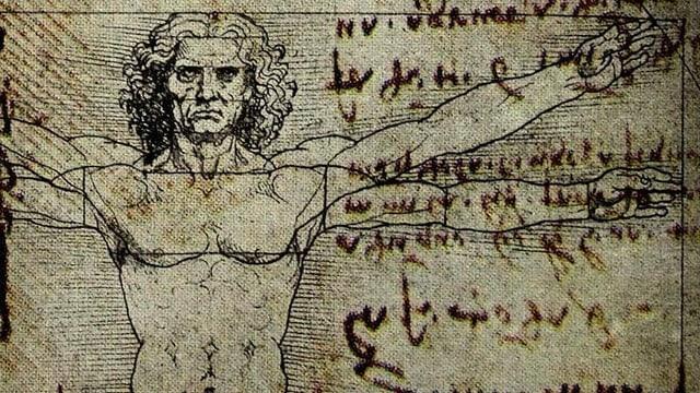 Zeichnung und Schriften von Leonardo da Vinci