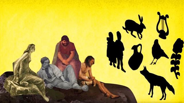Bilder von Philosophen, die auf einem Felsen sitzen. Bilder an einer Wand.