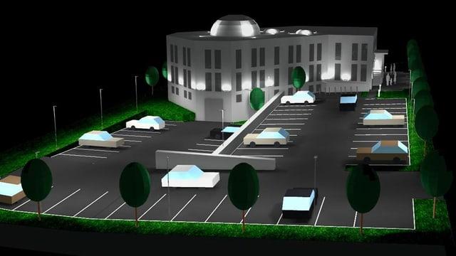 Visualisierung eines Moschee-Gebäudes mit Kuppel auf Dach und Parkplatz davor.