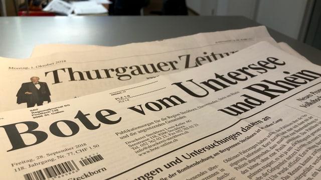 Die Thurgauer Zeitung und der Bote vom Untersee und Rhein.