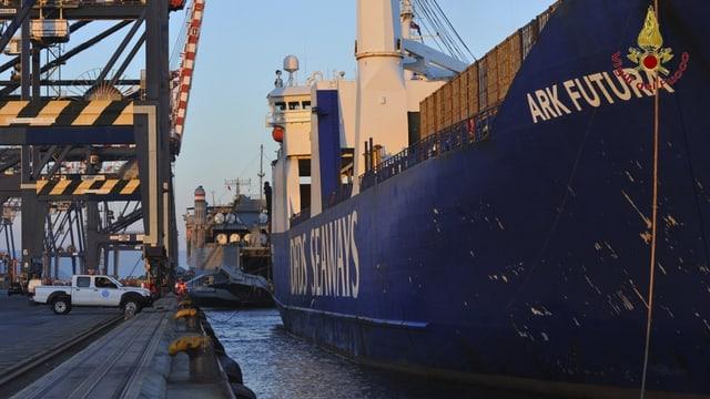 Dänischer Frachter «Ark Futura» im Hafen von Gioia Tauro.