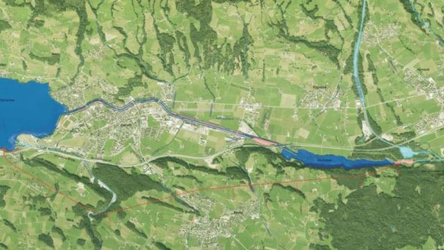 Satelitenbild von zwei Seen mit einem rot markierten Hochwasserentlastungsstollen.