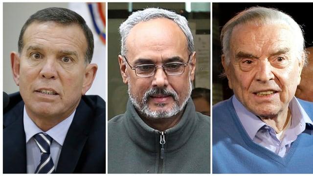 Die Angeklagten Juan Angel Napout (links), Manuel Burga und Jose Maria Marin (rechts).