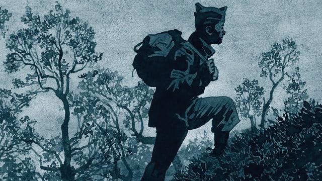 Comic: Ein Soldat geht einen Hügel hoch.