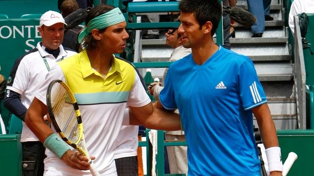 Rafael Nadal (links) trifft im Final von Monte Carlo erneut auf Novak Djokovic.