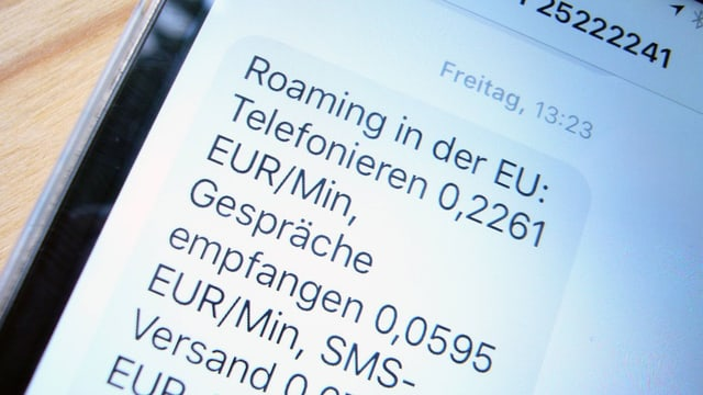 Ein Smartphone-Bildschirm zeigt Roaming-Gebühren.