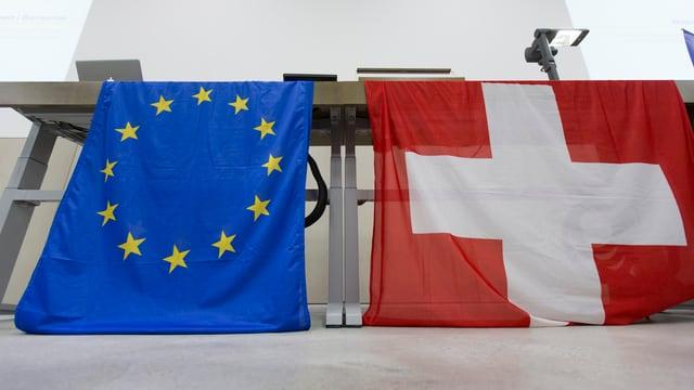Flagge der Schweiz und der EU hängen an einem Rednerpult
