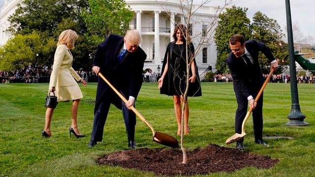 Trump und Macron pflanzen einen Baum.