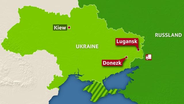 Karte Ukraine und Grenzregion zu Russland.