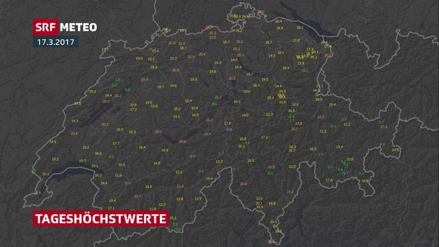 Eine Übersicht über die Tageshöchsttemperaturen.