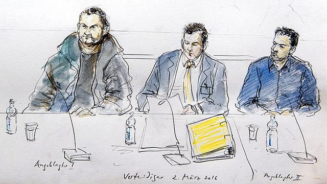 Gerichtszeichnung mit zwei der Angeklagten und einem Verteidiger (Mitte).