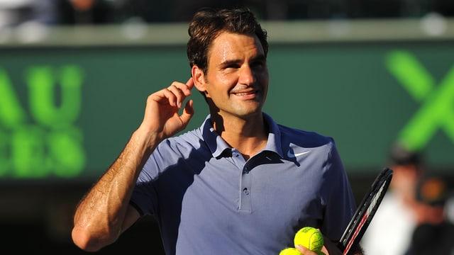 Roger Federer auf dem Court.