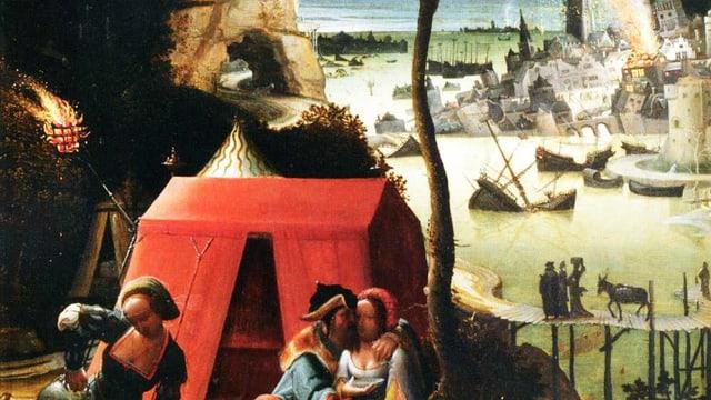 Ölgemälde: Im Vordergrund küsst ein Mann eine Frau. Im Hintergrund brennt eine Stadt.