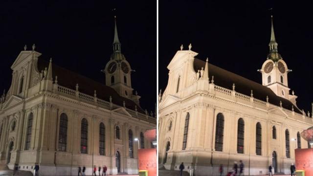 Zwei Bilder der Kirche, mal dunkler, mal heller.