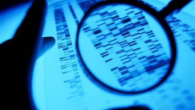 Ein Wissenschaftler hält eine Lupe vor eine DNA Sequenz