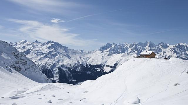 Das Gebiet oberhalb von Verbier mit der Mont-Fort-Hütte.