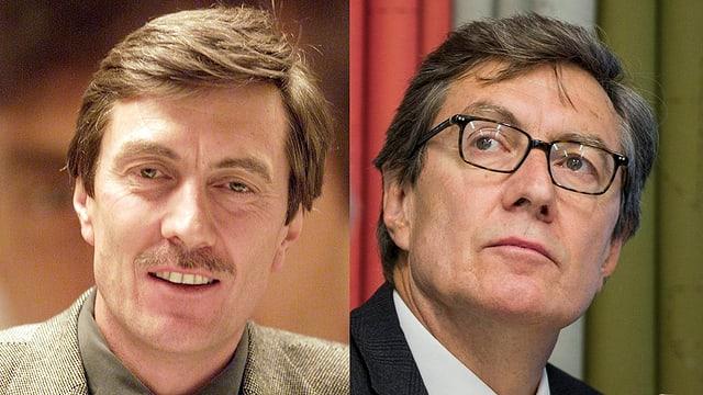 Martin Waser 2002 mit Schnauz, und 2013 mit Brille als Stadtrat.