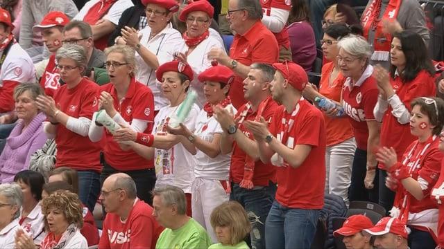 Grosse Unterstützung der Schweizer Fans in Leipzig.