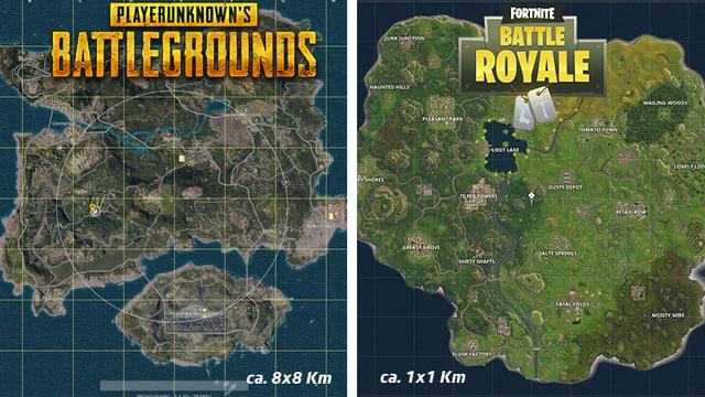 Die beiden Karten von PUBG und Fortnite im Vergleich.