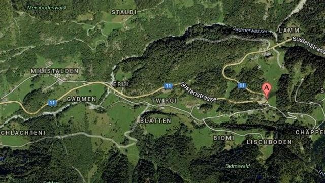 Google-Karte der Region.