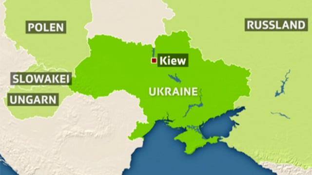 Eine Karte der Ukraine.