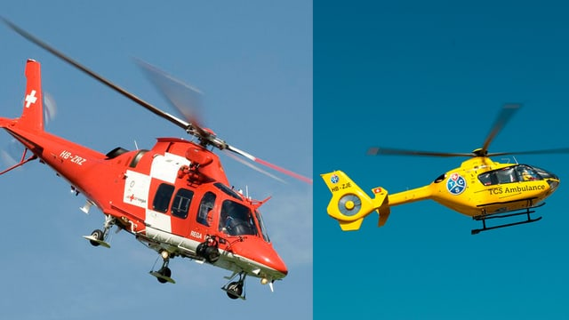 Helikopter der Rega und des TCS