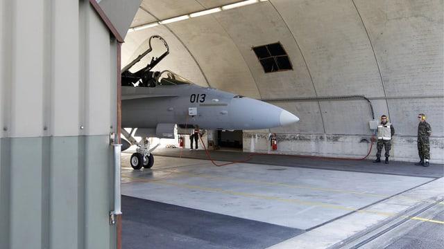 F/A-18 in einem Hangar.