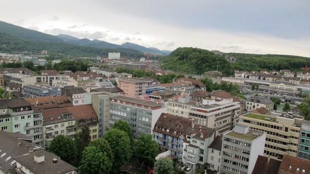 Blick vom Oltner Stadthaus auf die Stadt in Richtung Aarau.