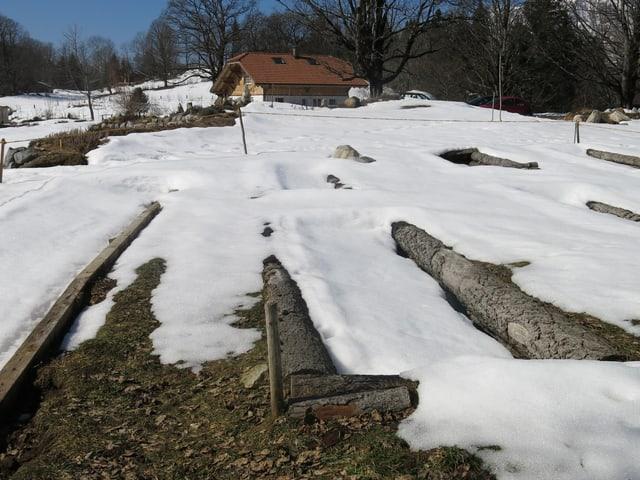 Struktur der Tiefbeete im Schnee