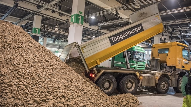 Ein Lastwagen kippt Erde auf einen grossen Haufen in der Messehalle