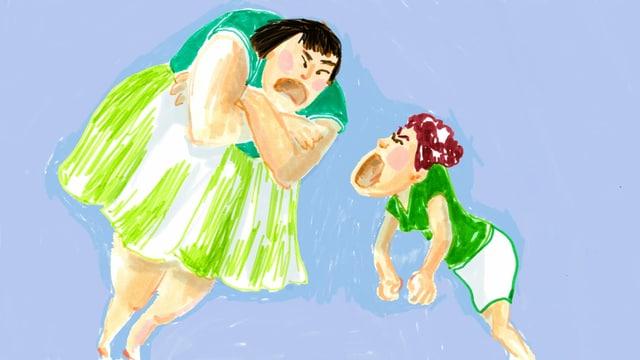 eine Zeichnung von zwei Personen, die sich anschreien