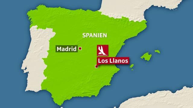 Karte von Spanien mit dem markierten Unfallort Los Llanos