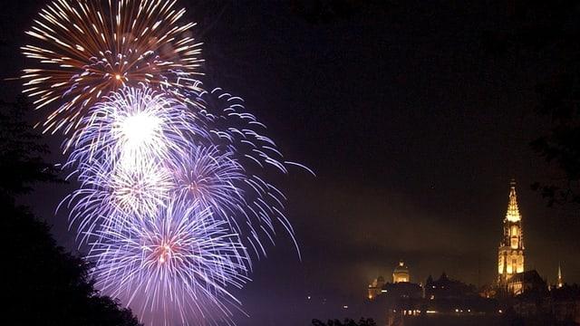 Feuerwerk und Berner Münster