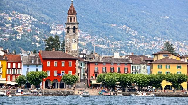 Blick vom See auf Ascona