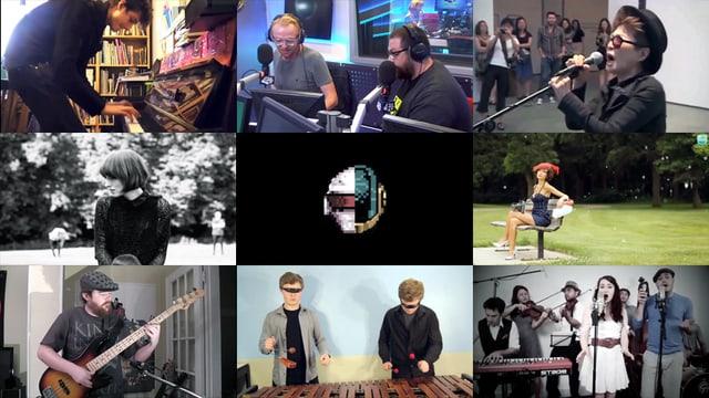 Ein Mosaik aus neun YouTube-Titelbildern von Coverversionen zu Daft Punks «Get Lucky».