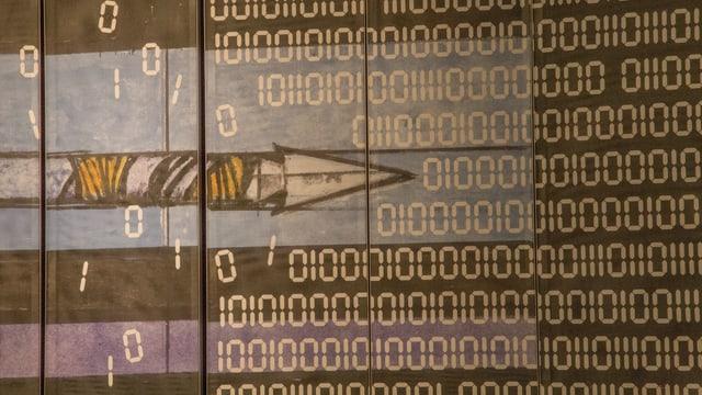 La simbolica dal maletg da tribuna da Rudolf Mirer - il paliet rumpa il code binar dal computer.