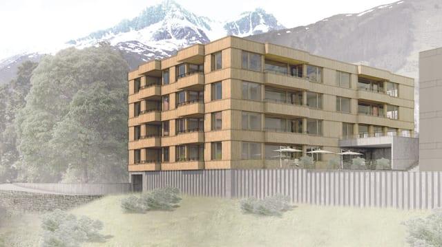 Visualisaziun da la residenza da seniors a Sedrun