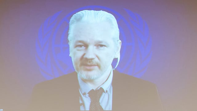 Übertragungsbild von Assange wird auf eine Leinwand projiziert.