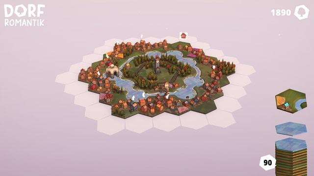 In diesem Spiel werden Hexagonförmige Spielkärtchen Puzzleartig aneinandergereiht.
