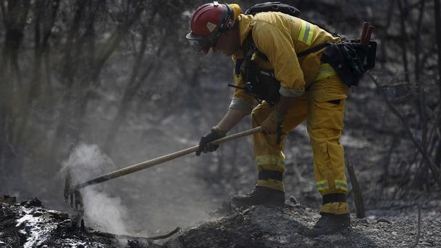 Ein Feuerwehrmann stochert mit einer Hacke in einem Glutnest herum.