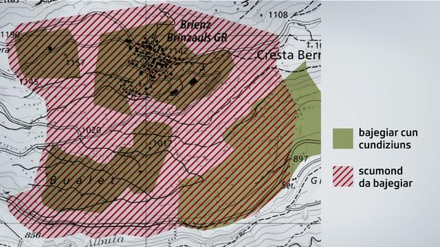 La nova zona cotschna che cumpiglia l'entir vitg da Brinzauls.