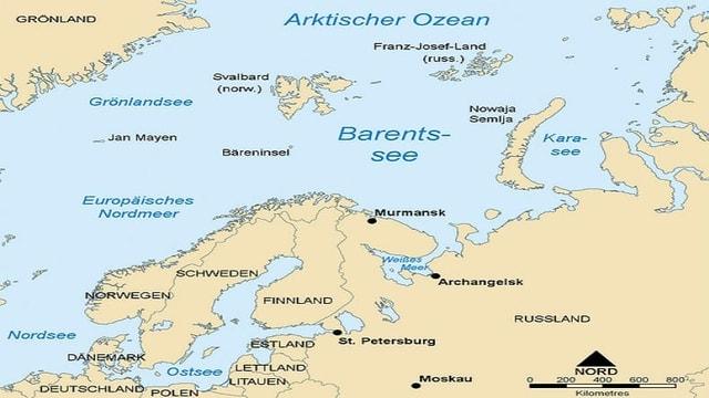 Bild von Karte mit Barentssee.