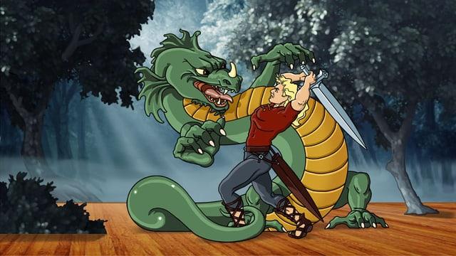Zeichnung: Siegfried kämpft gegen den Drachen