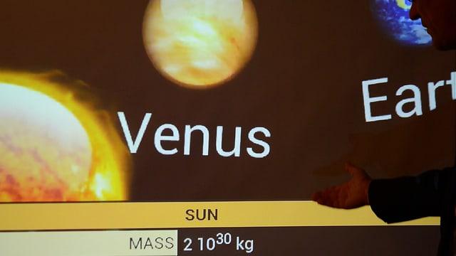 Das Bild zeigt eine App für die Datenbrille Moverio, mit der man im realen Himmel Infos zu den Planeten sieht.