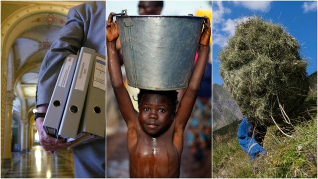 Bundesbeamter mit Aktenordnern, Junge mit Wasserkübel auf dem Kopf, Bauer mit Heuhaufen auf dem Rücken.