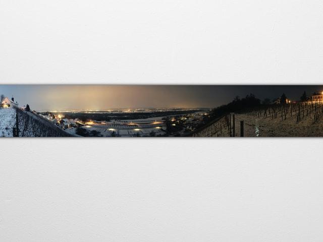Panoramabild mit Rebbergen und Blick aufs Tal.