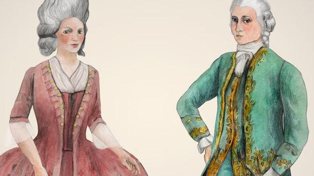 Zwei gezeichnete barocke Figuren, ein Mann und eine Frau.