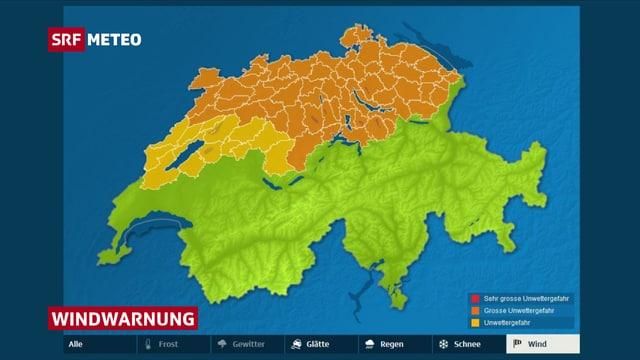 Schweizer Karte mit Windwarnungen.