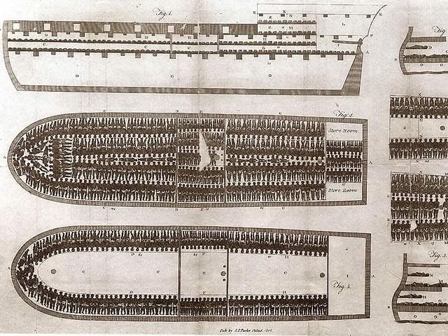 Zeichnung eines Sklavenschiffs, auf dem die Menschen eng zusammengepfercht wurden