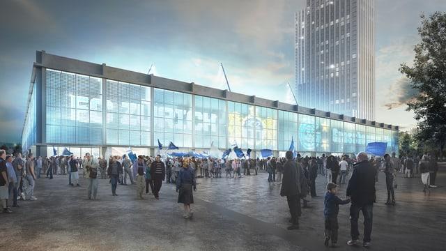 Eine Visualisierung des geplanten Hardturmstadions mit zwei Wohntürmen dahinter